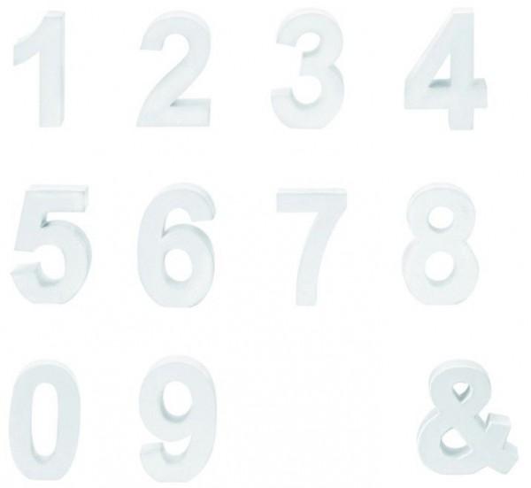Papp Zahlen weiss 10cm x 3,5cm zum dekorieren alle Nummern von 0-9 Alphabet Name
